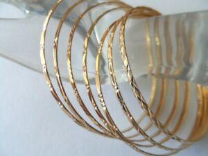 Vintage 18k solid Yellow Gold 750  Semanario set of 7 Bangle Bracelets 7-day