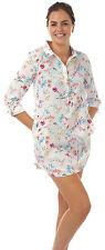 Señoras camisa blusa noche de sueño cubierta de playa de Satén Pijama Cama de verano para mujer