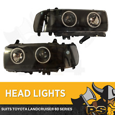 Angel Eye HeadLights LED BLACK to suit Toyota Landcruiser 80 Series Projector