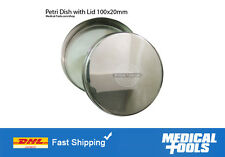 06 Petri Dishes with Lid, Stainless Steel, Non Rusting, 100x20mm, Lab,Scientific