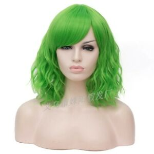 Women Wig Short Green Natural Curly Wavy Synthetic Hair Cosplay Wig+Wig Cap