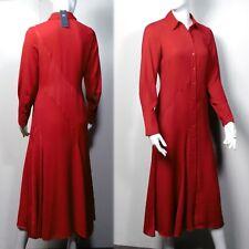 M&S Long SATIN TRIM Long Sleeve SHIRT DRESS ~ Var Sizes ~ RED