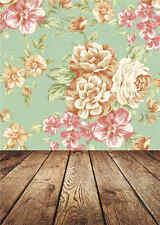 Vintage Photo Wooden Floor Backdrops Flowers Photography Background Vinyl 5x7ft