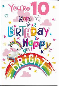 "10TH TEN GIRL BIRTHDAY GREETING CARD 7""X5"" UNICORN FREE P&P"