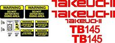 Takeuchi Decal Set for TB145 decals stickers kit Loader Excavator