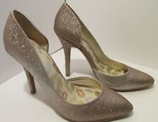 Juicy Couture Heels Cyra Glitter Gold Ladies size 7 Fashion Dress Shoes 8-656S41