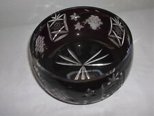 POLAND CUT TO CLEAR BLOOD RED BOWL/DISH GRAPE PATTERN NICE HEAVY