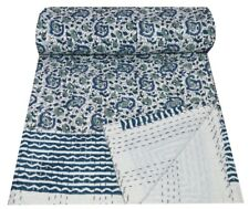 Indian Handmade Floral Print Kantha Quilt Throw Reversible Cotton Blanket Gudari