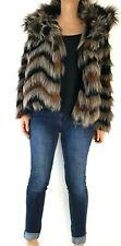 Next Chevron Faux Fur Coat Zigzag Brown Beige Furry Jacket Pockets Cozy Size 14