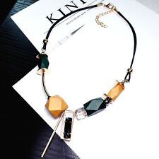Colorful wood pendant statement short necklace UK
