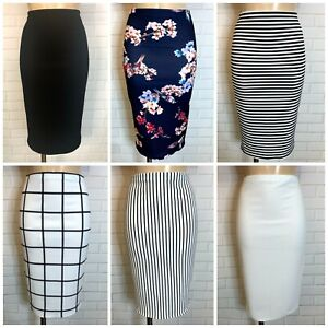 PENCIL CASUAL FIGURE HUGGING WIGGLE STRETCH KNEE SKIRT Size 8 -20