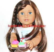 4 Fancy Cherry Cupcakes + Serving Tray 18 in Doll Food For American Girl