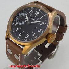 43mm Corgeut schwarze Saphirglas uhr 6497 Bronze plated hand winding mens watch