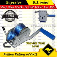 Superior 600KG Boat Hand Winch 3:1 mini CAR BOAT TRAILER 4WD HAND WINCH