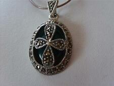 Emerald Green Onyx Marcasite Sterling Silver Pendant Necklace
