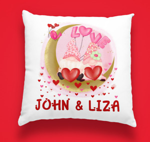 Personalised Gonk Valentines Cushion Cover Gnome Couple custom names 6 designs