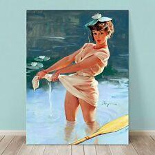 "VINTAGE Pin-up Girl CANVAS PRINT Gil Elvgren  8x12"" Upset Boat paddler"