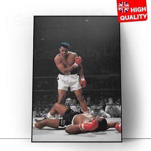 Muhammed Ali Vs Sonny Liston Photo Black White Poster   A5 A4 A3 A2 A1  