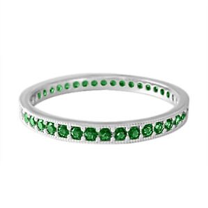 Real Sterling Silver2 CT Round Cut Green Emerald Wedding Full Eternity Band Ring