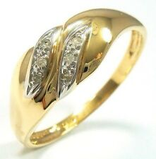 FINE 9KT SOLID YELLOW GOLD 6 NATURAL DIAMONDS RING