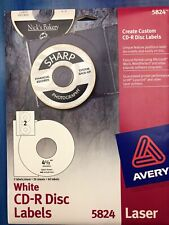 Avery 5824 White Laser Cd R Disc Labels 20 Sheets 40 Labels 4 12 No Cd