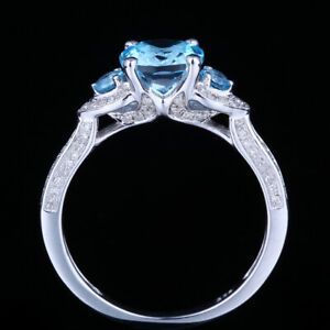 THREE STONES SILVER STERLING 925 NATURAL SKY BLUE TOPAZ DIAMONDS JEWELRY RING
