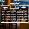 Fish & Chip Shop Personalised Custom Times Wall Window Sign Vinyl Decal Sticker