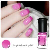 6ml Color Changing Nail Polish Thermal Peel Off Polish Varnish Rose Red to Pink