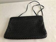 Morris Moskowitz genuine woven leather clutch w shoulder straps USA