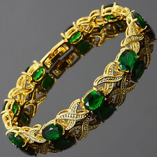 Charming! Green Emerald 18K Yellow Gold Gp Tennis Bracelet Jewelry New