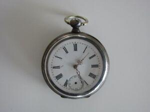 Alte Taschenuhr, Silber Gehäuse, Schlüsselaufzug Sekundenzeiger fehlt Werk läuft