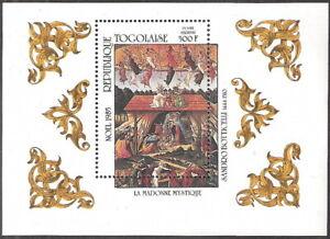 Togo 1985 Painting Mystic Madonna Botticelli Souvenir Sheet MNH (SC# 1352)