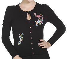 BANNED Womens Floral Flamingo Fine Knit 50s Retro Rockabilly Cardigan Plus Black L (uk 14)