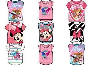 Girls Children Disney Trolls Minnie Vaiana Paw Patrol T-Shirt Top 1,5-12 years