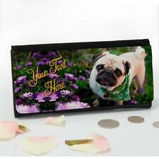 Personalised Pug Dog Puppy Flowers Large Ladies Money Coin Purse Mum Gift SL05