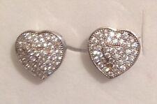 B.O argent 925/1000 clou coeur incrusté de cristaux diamant brillance 5176