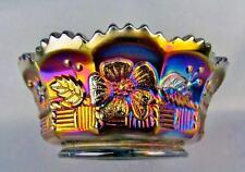 CARNIVAL GLASS - NORTHWOOD SPRINGTIME Amethyst Sauce / Berry Bowl #2