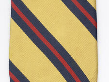 B Altman & Company Youth Thin Neck Tie Yellow Gold Blue Red Striped 100% Silk