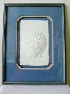 Ooak Clamshell Shell Nautical Shadow-Box Sculpture Cast Paper Artist Sign Framed