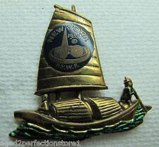 1939 New York World's Fair Enamel Sailboat Ship Boat Souvenir Pin htf NYWF