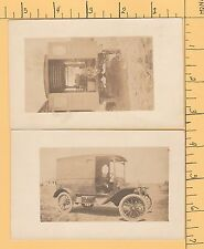 2 Cards RPPC Farmview Dairy ND license plate 1917 delievery truck 8848