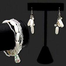 Bracelet Earring Set Beaded Multi Strand Lampwork White Clear Beads