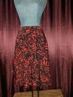 NEW George Stretch Red/Black Roses Polyester Skirt Womens 4-6 NWT Closet56*