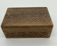 Vintage Hand Carved Wooden Trinket Jewelry Box Floral Made in India