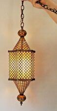 Vintage Mid Century Modern Brass Filigree Mesh Lantern Swag Light AMAZING!