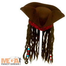 Deluxe Pirate Hat Adults Fancy Dress Caribbean Mens Ladies Costume Accessory