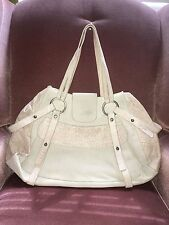Pollini leather tote made in Italy beige cream color