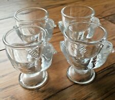 Four Clear Glass Luminarc French Egg Cups Hen/Chickens Made in France Easter Egg