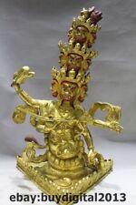 "13""  Tibet Buddhism Bronze 24K Gold Archery Mahakala Wrathful Deity Buddha"