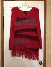 """NewDirections"" Red, Gray, Black Fringe Sweater Size XL"